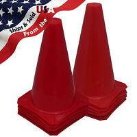 "Qty 10 BRAND NEW ~ US SELLER ~ RED CONES 9"" Tall Traffic Safety Training"