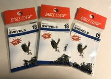 Lot of 3 Packs Eagle Claw Black Barrel Swivel, Size 18 - #01112-018 - 36 Pieces