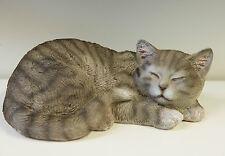 Outdoor Garden Resin Animal Gift Ornament Sleeping Grey Kitten Cat Curled Up