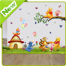 Winnie The Pooh Wall Stickers Animal Piglet Nursery Baby Kids Bedroom Decal Art