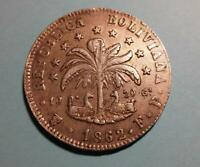 BOLIVIA - 1862PTS FP silver 8 Soles - uncleaned original - XF