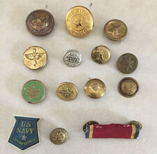 Mixed Lot 14 Vintage Brass Metal Shank Buttons Police US Navy Military Pins
