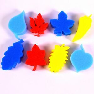 Leaf Shape Painting Sponges for Kids Art & Craft Set of 8 Foam Paint Applicators