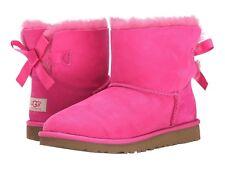 Ugg Australia Mini Bow Pink Seude Girls Boots  Youth size 6