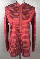 Ann Mashburn SZ M Med Raw Silk Red Popover Tunic Mandarin Collar Striped