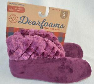 Dearfoams velour bootie Plum women slippers S small New size 5-6