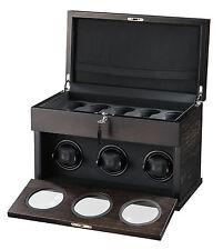 New High Quality VOLTA Automatic 3 Watch Brown Winder Box + 5 Watch Storage Case