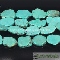 Natural Blue Turquoise Gemstone 25mm - 30mm Freeformed Nugget Sliced Beads 16""