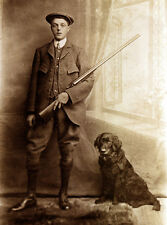 FLAT COATED RETRIEVER DOG GREETINGS NOTE CARD YOUNG LAD WITH BIG GUN AND DOG