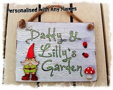 Outdoor Garden Sign PERSONALISED WITH ANY 2 NAMES Plaque Gardeners Gift Handmade