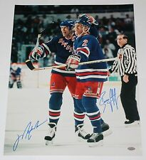 MARK MESSIER BRIAN LEETCH NY RANGERS DUAL SIGNED CELEBRATION 16X20