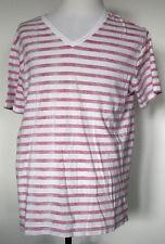 Arizona Jeans Reverse Print White & Red Striped V-Neck T-Shirt XXL