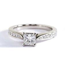 0.70 Ct SI2 F Princess Cut Micro Diamond Pave Engagement Ring 9K-White Gold