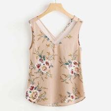 Women Chiffon Shirt Floral Sleeveless V Neck Beach Casual Tank Top Vest Blouse