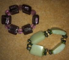 2 PRETTY BRACELETS - ONE GREEN/ONE PURPLE - BEADS IDEAL FOR REUSING