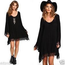 Women's Casual Long Sleeve Oversized Tassel Shirt Loose Mini Dress Tops Blouse