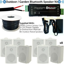 Outdoor/External Bluetooth Speaker System – Mini Amplifier 8x White Speakers Kit