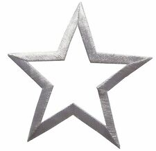 "3"" Embroidery Iron On White Hollow Star Applique Patch"