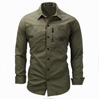 New Mens  Cotton Tooling Zip Shirt Fashion Casual Long Sleeves Tops Shirts XT401