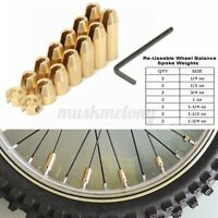 14 Pack Brass Reusable Motorcycle Tyre Wheel Spoke Balance Weights Refill Kit