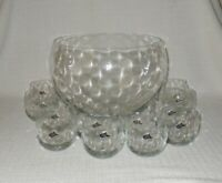West Virginia Specialty Glass Diamond Quilted Optic Glass Punch Bowl Set 12 Cups