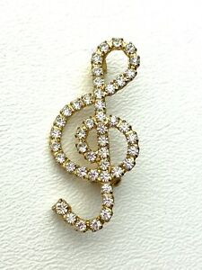 """Beautiful Vtg Gold Tone Treble Cleff Music Brooch Pin w/ Sparkling Crystals 2"""""""