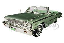 1963 FORD GALAXIE 500 XL OPEN CONVERTIBLE SILVER GREEN 1/18 DIECAST SUNSTAR 1455