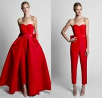 Red Formal Gowns Jumpsuit Detachable Train Strapless Evening Cocktail Dress 2018