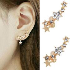 Stars Crystal Clip Ear Cuff Stud Women's Punk Wrap Cartilage Earring Jewelry