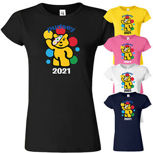 Spotty Pudsey Bear T Shirt Children In Need Dotty Spot Ladies Top Tee Charity