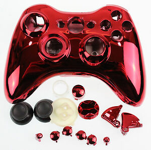 Replacement Custom Chrome Red Xbox 360 Controller Shell Case.