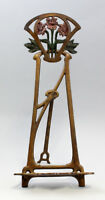 9937338-ds Cast Iron Figure Easel Stand Art Nouveau Colourful Rustic 19x41cm
