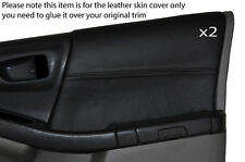 BLACK STITCH 2X FRONT DOOR CARD TRIM SKIN COVERS FITS SUBARU FORESTER 1997-2002
