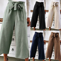 Womens Ladies Flared Loose High Waist Belted Wide Leg Casual Trousers Size 8-18