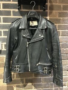 Men's Leather Brando Motorcycle Biker Jacket Black Vintage Used Size 40