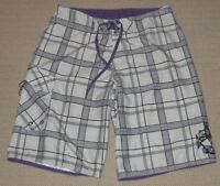 Mens Quiksilver Board Surf Swim Long Shorts Trunk Bathing Suit Sz 31 White Plaid