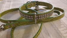 "Mirage Diamante Twin Row lime green crocDog Collar Lead medium (neck 14-17"")"