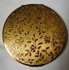 Stratton England Compact Gold Tone Floral Vintage 40'S-50'S Wonderful Shape