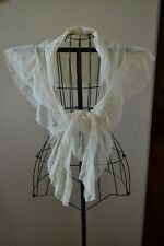 New listing Loveliest Antique 1900's French Net Lace Shawl/Veil Ruffled Trim Scalloped Edge