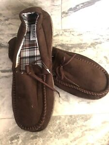 Mens Brown Moccasin Slippers Faux Suede  Cushioned Slip On Sz10/43EU BNWT