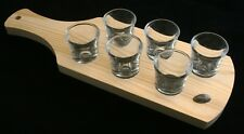 Rugby Ball Set of 6 Shot Glasses with Wooden Paddle Tray Holder 305