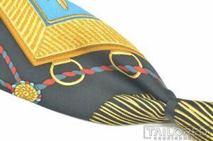 """HERMES SCARF PRINT Black Gold Colorful String 100% Silk Mens Luxury Tie - 3.25"""""""