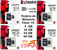 Tarjeta MicroSD Kingston 4, 8, 16, 32, 64GB Clase 10 - Memoria Micro SD Original