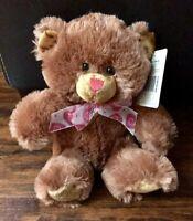 "Hug Fun Plush Brown Teddy Bear Stuffed Animal Toy With Heart Pattern Bow 10"""