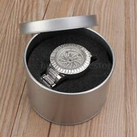 Fashion Silver Round Tin Jewelry Watch Gift Box Case Sponge Winder Storage HME