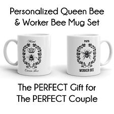 Worker Bee Queen Bee His & Hers 2 Piece Mug Set Personalized With First Names