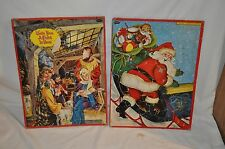 2 vintage Childrens Whitman Puzzle Christmas Child Is Born - Santa Usa Made