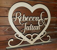 Wedding names heart FREESTANDING sign plaque with names Custom made centerpiece