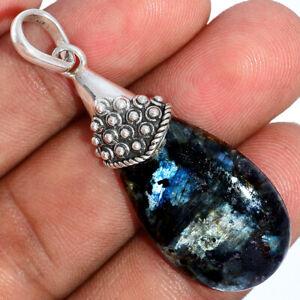 Hand Work - Larvikite Black Moonstone 925 Silver Pendant Jewelry BP85395