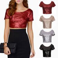 Summer Women Crop Tops Sequins T Shirt Slim Short Sleeve Blouse Tee Tops M-2XL